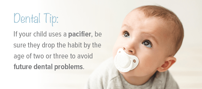 A dental tip when introducing pacifiers to babies.