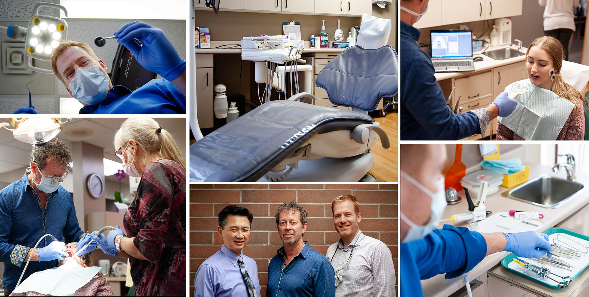Collage of images showing our amazing dentists in Langley and their team and the various skills they possess