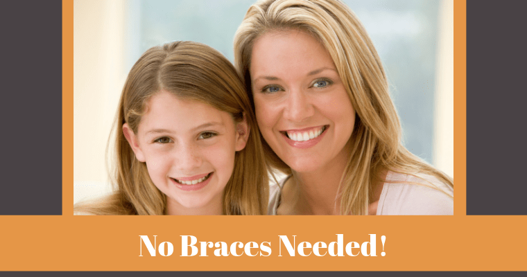 A young girl with her mom, learning how to avoid braces with Myobrace and the text: No braces needed!